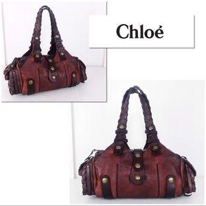 Chloe Oxblood Leather Silverado Satchel Handbag